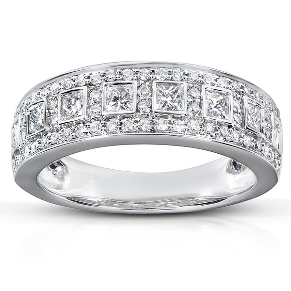 Annello by Kobelli 14k White Gold 5/8ct TDW Princess Diamond Ring