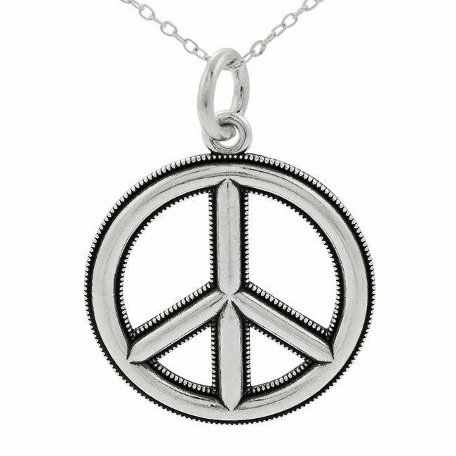 Journee Collection Sterling Silver Edged Peace Sign Necklace