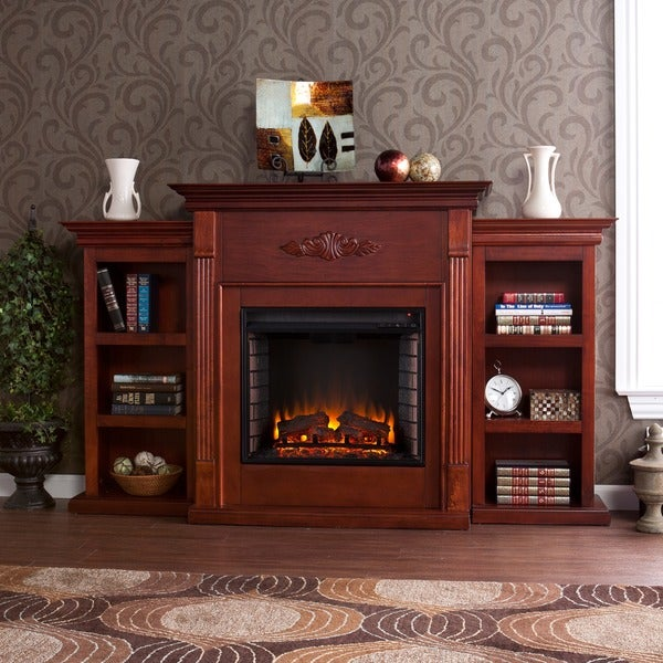 Harper Blvd Dublin 70 inch Mahogany Bookcase Electric Fireplace