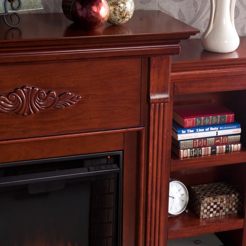Gracewood Hollow Womack 70-inch Mahogany Bookcase/ Electric Fireplace with Remote
