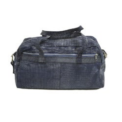 Piel Leather 18 Inch Denim Carry On Duffel Bag with Removable Straps - Thumbnail 2