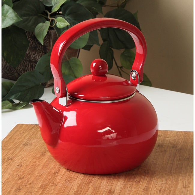 Red Tea Kettle ~ Calypso basics red quart tea kettle free shipping on