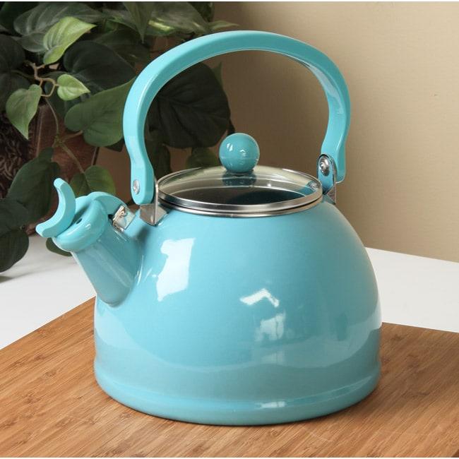 Calypso Basics Turquoise Whistling Tea Kettle Free