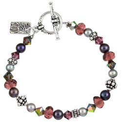 Lola's Jewelry Silverplated Purple Crystal Asian Charm Bracelet