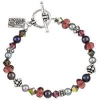 Lola's Jewelry Silverplated Purple Crystal Asian Charm Bracelet