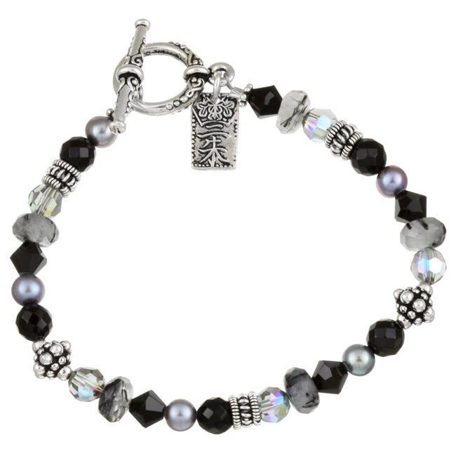 Lola's Jewelry Silverplated Onyx/ Crystal Asian Charm Bracelet