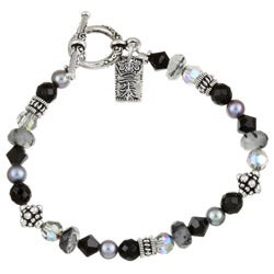 Lola's Jewelry Silverplated Onyx/ Crystal Asian Charm Bracelet - Thumbnail 0