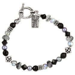 Lola's Jewelry Silverplated Onyx/ Crystal Asian Charm Bracelet (2 options available)