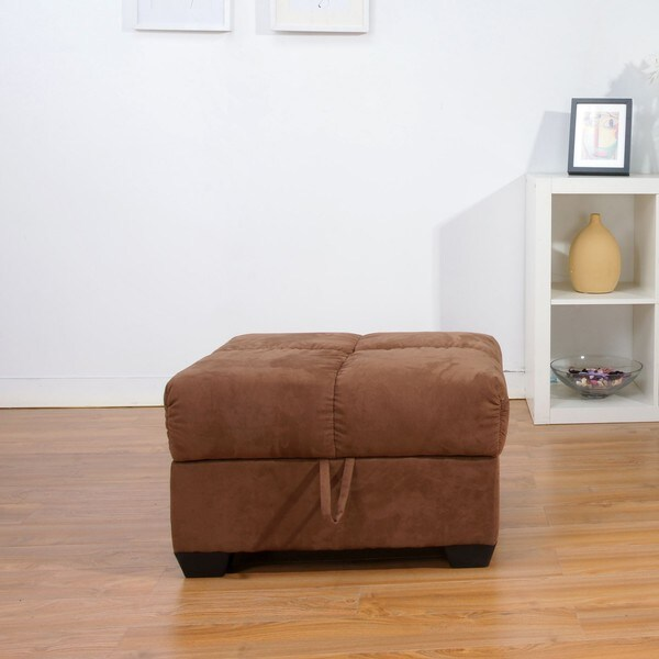 Shop Multifunctional Microsuede Mocha Storage Ottoman