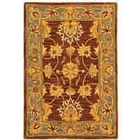 Safavieh Handmade Heritage Traditional Kerman Brown/ Blue Wool Rug - 2' x 3'
