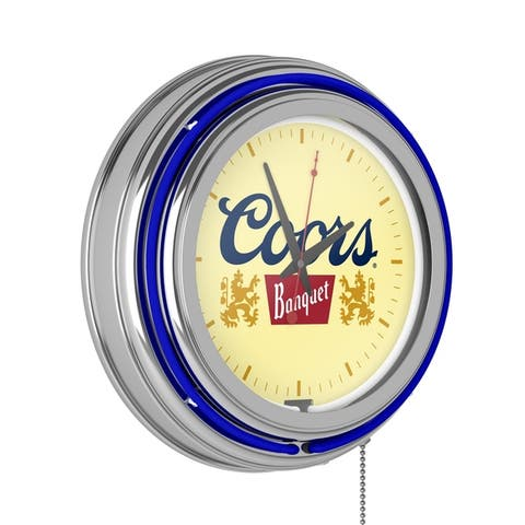 Licensed 14-inch Neon Double Ring Beer Clock