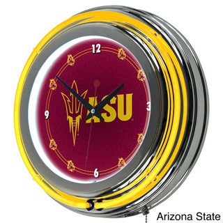 Licensed 14-inch NCAA Double Ring Neon Clock