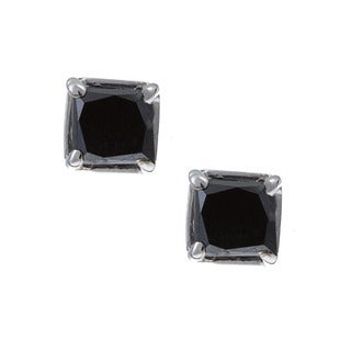 Miadora 14k Gold 1/2ct TDW Princess Black Diamond Earrings