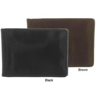 Boston Traveler Black and Brown Genuine Leather Bi-fold Money Clip