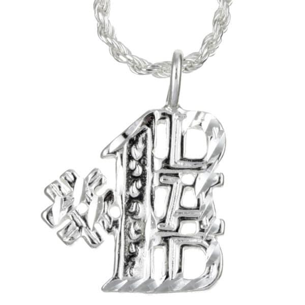 b408cd0dd01ab Sterling Silver Diamond-cut #1 Dad Necklace