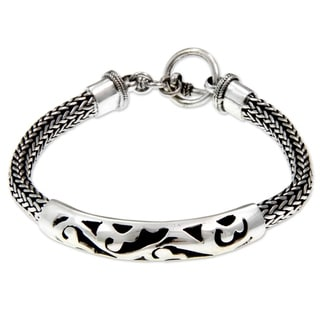 Balinese Finesse Ornate Indonesian Fretwork ID Style Bracelet with Toggle Clasp in 925 Sterling Silv