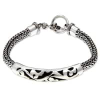 Balinese Finesse Ornate Indonesian Fretwork ID Style Bracelet with Toggle Clasp in 925 Sterling Silver