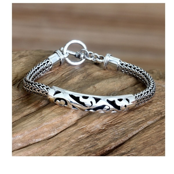 Balinese Finesse Ornate Indonesian Fretwork ID Style Bracelet with Toggle Clasp in 925 Sterling Silver Mens Bracelet (Indonesia)
