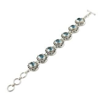 Handmade Sterling Silver Blue Topaz 'Sky Blossom' Bracelet (India)