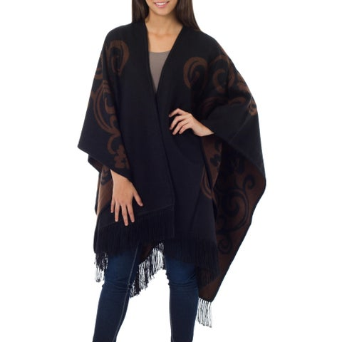 Mocha Blossom Brown Black Floral Artisan Handmade Women's Mantle Shawl Cape Natural Alpaca Wool Reversible Ruana Cloak (Peru)