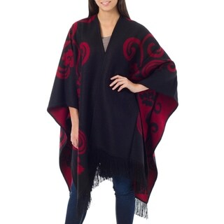 Handmade 'Strawberry Blossom' Alpaca Wool Reversible Ruana Cloak (Peru)