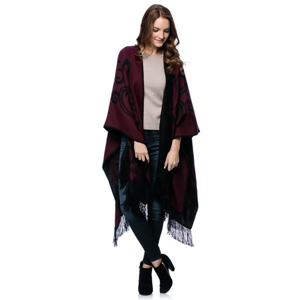 'Strawberry Blossom' Alpaca Wool Reversible Ruana Cloak (Peru)