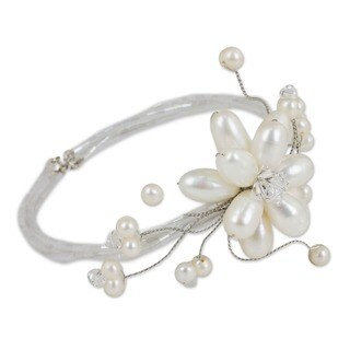 Bouquet Pearl Flower of White Freshwater Pearls with Crystal Beads Perfect Bridal Adjustable Womens Fashion Bracelet (Thailand)