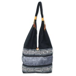 Music White Lines Band a Black and Gray Cotton and Silk Lined Zip Pocket Button Closure Womens Hobo Shoulder Bag (Thailand)