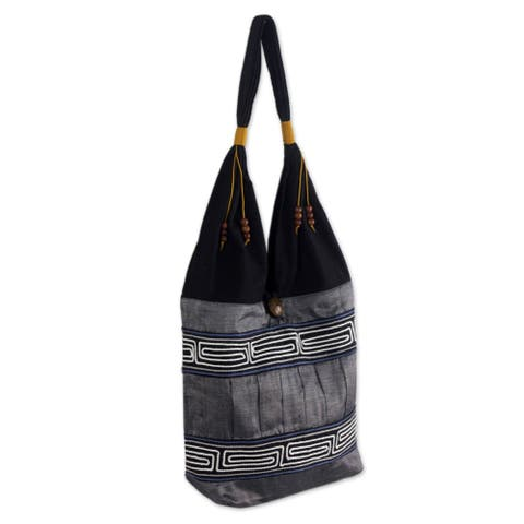Handmade Music White Lines Black and Gray Cotton Hobo (Thailand)