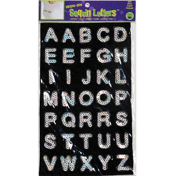 Iron-on Silver Block Sequin Letters