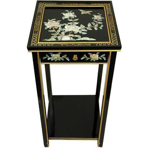 Handmade 'Black Birds and Flowers' Oriental Pedestal (China)