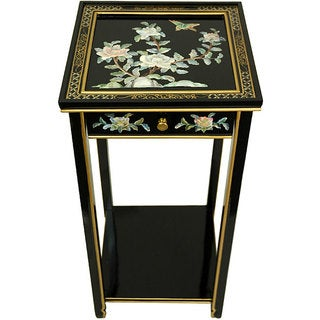 Handmade 'Black Birds and Flowers' Oriental Pedestal (China)