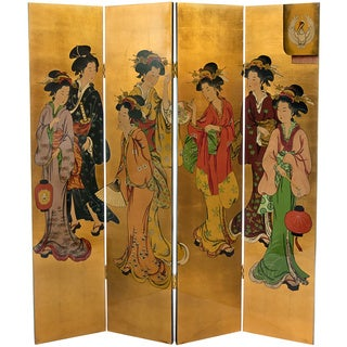 Handmade Wooden Golden Geisha Lacquered Screen (China)
