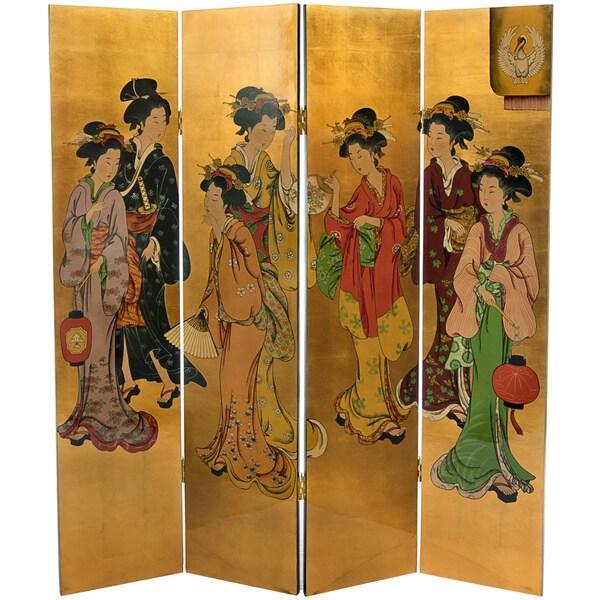 Handmade Wooden Golden Geisha Lacquered Screen (China)