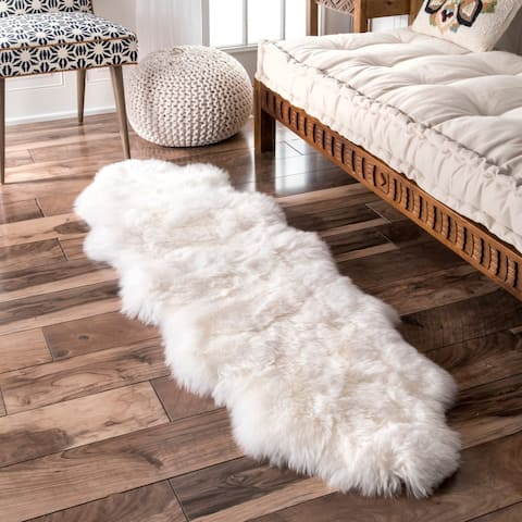 "nuLOOM Alexa Double Natural Soft Sheepskin Wool Shag Rug - 1' 6"" x 5' 6"""