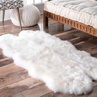nuLoom Alexa Quatro White Sheepskin Wool Four-pelt Shag Area Rug (2'6 x 5'6)