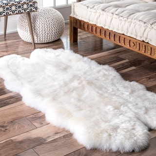 Link to nuLOOM Alexa Quatro Sheepskin Wool Four Pelt Shag Area Rug - 3' x 5' Similar Items in Shag Rugs