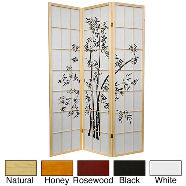 Handmade 6' Wood and Rice Paper Lucky Bamboo Room Divider