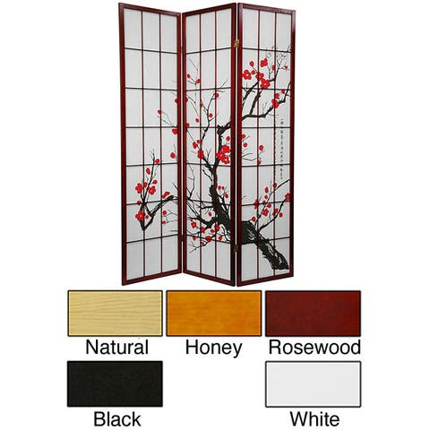 Handmade Wood and Rice Paper Flower Blossom 3-panel Room Divider