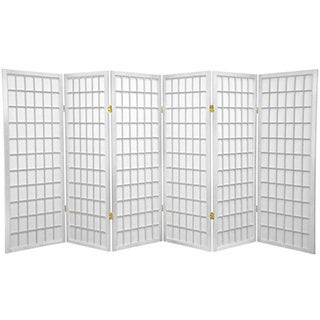 Handmade Wood and Rice Paper 4-foot 3-panel Shoji Windowpane Screen (China)