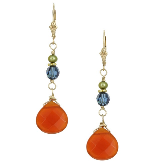 Lola's Jewelry 14k Goldfill Carnelian/ FW Pearl Earrings (3.5-4.5 mm)