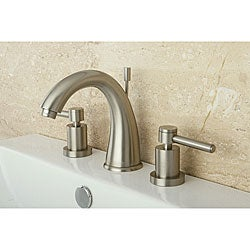 Satin Nickel Wideset Bathroom Faucet White Sand