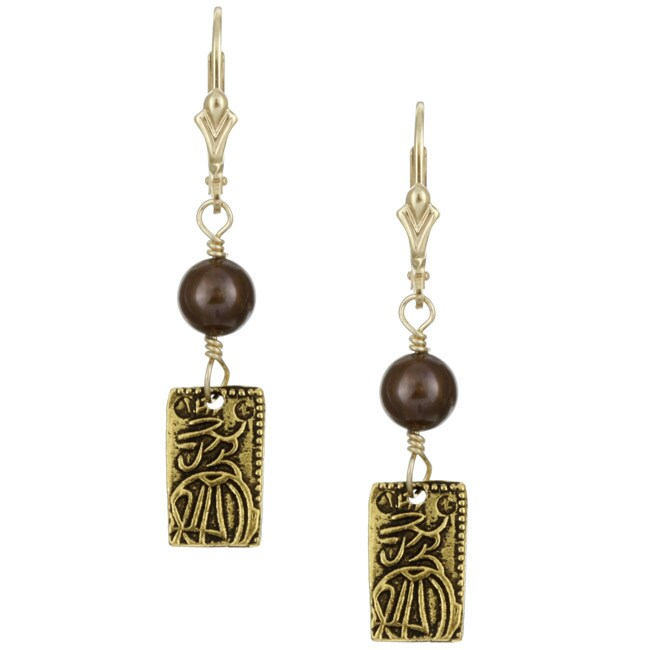 Lola's Jewelry Goldplated Brown Fw Pearl Asian Charm Earrings