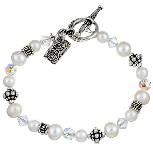 FW Pearl/ Crystal Asian Charm Bracelet (6-7.5 mm)