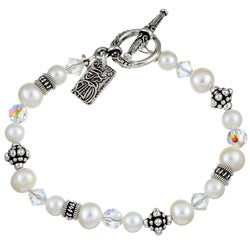 Lola's Jewelry FW Pearl/ Crystal Asian Charm Bracelet (6-7.5 mm)