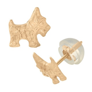 Junior Jewels 14k Yellow Gold Terrier Stud Child's Earrings