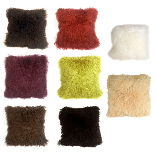 Mongolian Sheepskin Decorative Throw Pillow