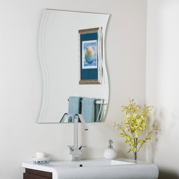 Bathroom Mirror Overstock frameless wave wall mirror - free shipping today - overstock