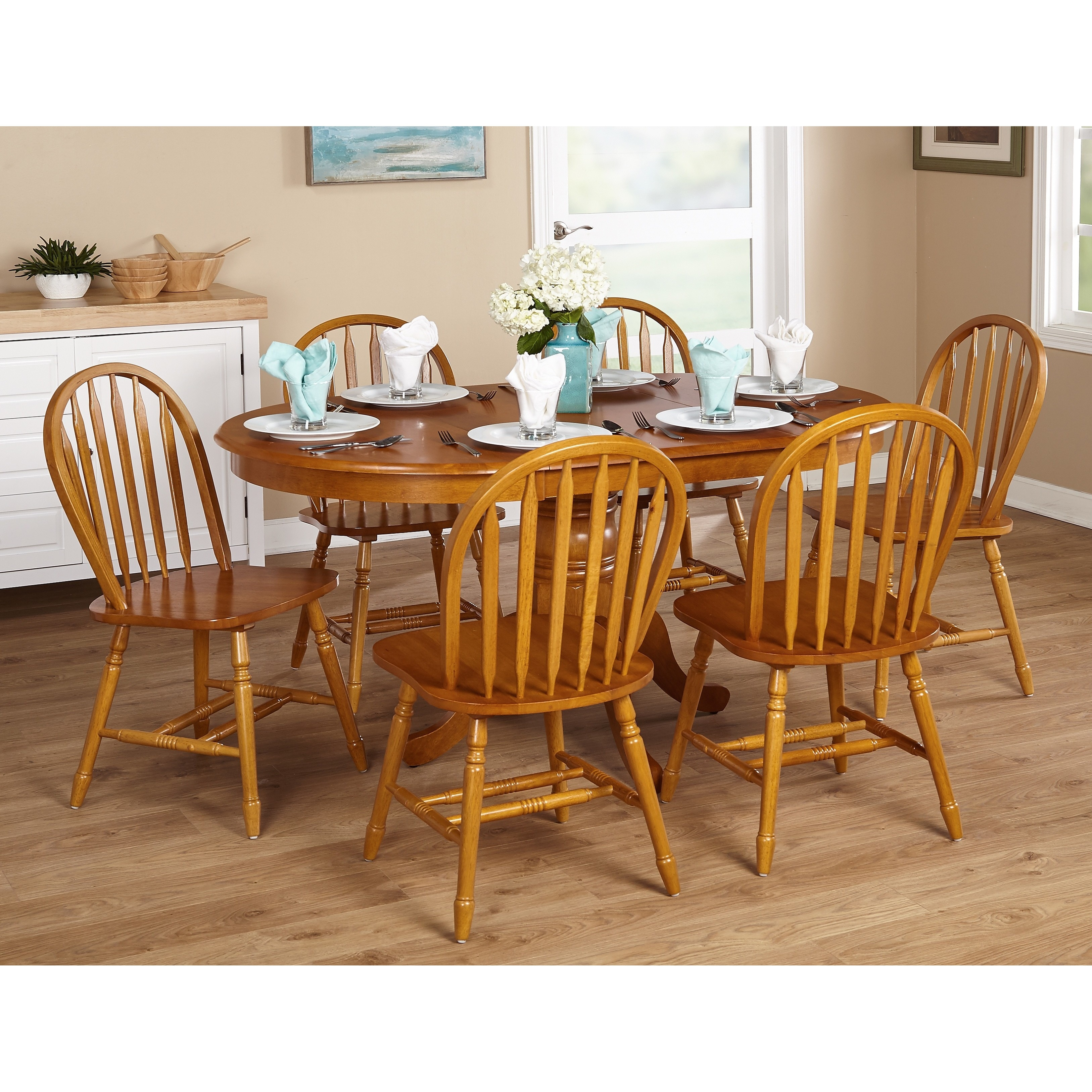 Oak Dining Set 7 Piece Farmhouse Wood Home Room Kitchen