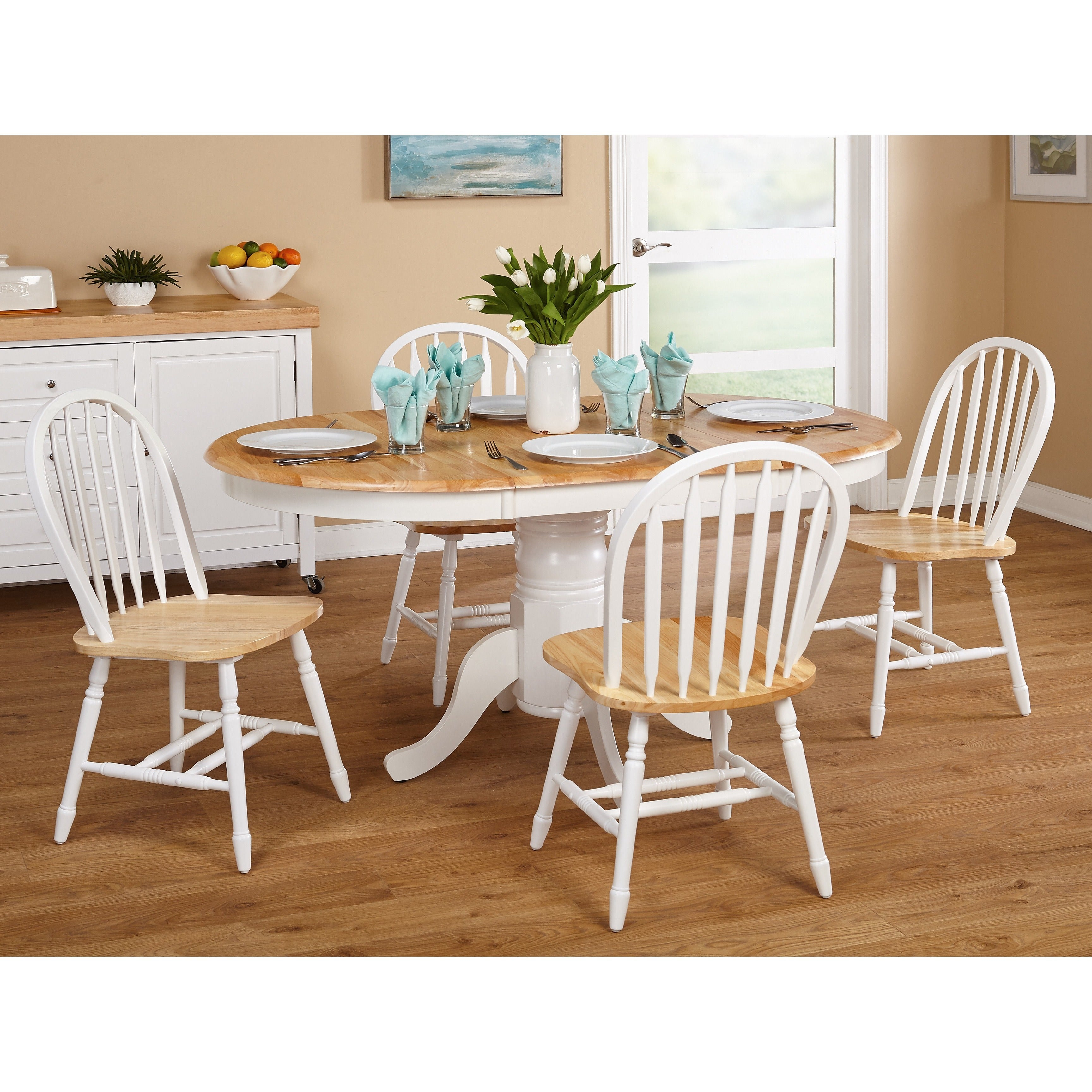 Simple Living Farmhouse 5 or 7-piece White/ Natural Dinin...